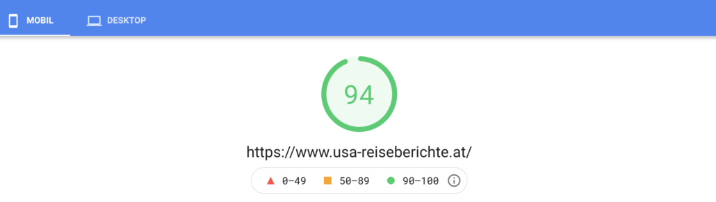 Page Speed Insights usa-reiseberichte.at mobil
